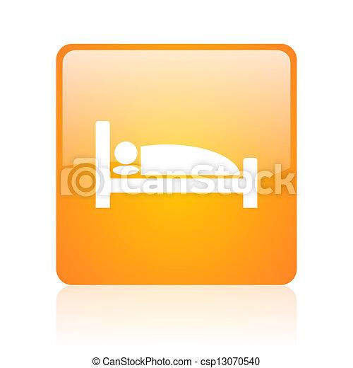 hotel orange square glossy web icon - csp13070540