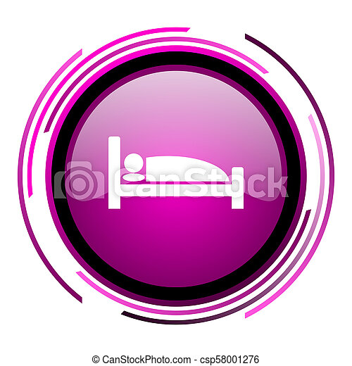 Hotel pink glossy web icon isolated on white background - csp58001276