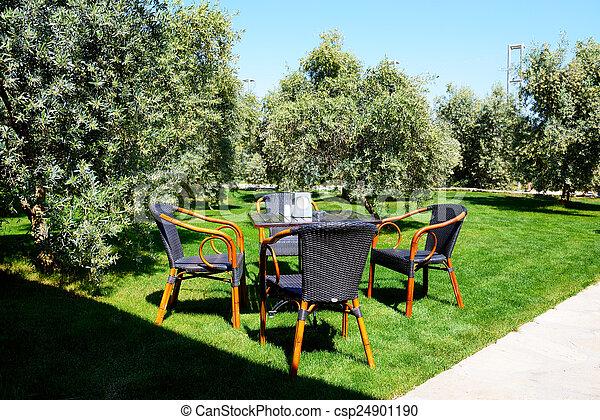 hotel, rasen sitzt, turke, luxus, tisch, antalya - csp24901190