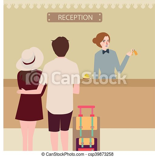 Hotel Reception Girl Couple Travel Check In Front Desk Vector