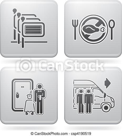 Los iconos del hotel están relacionados - csp4190519
