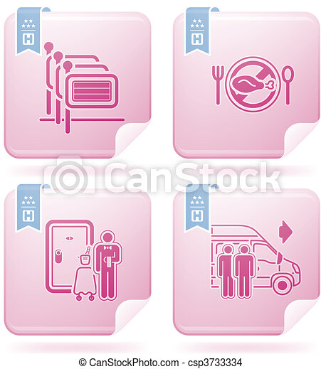 Los iconos del hotel están relacionados - csp3733334
