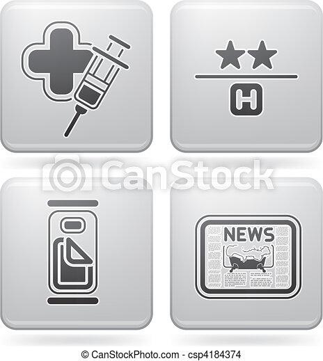 Los iconos del hotel están relacionados - csp4184374