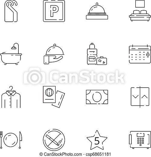 Hotel related icons. Parking restaurant separated bed wifi free tv hotel signs vector thin line - csp68651181