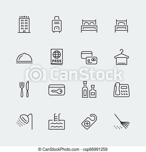 Hotel related vector icons set, thin line - csp66991259