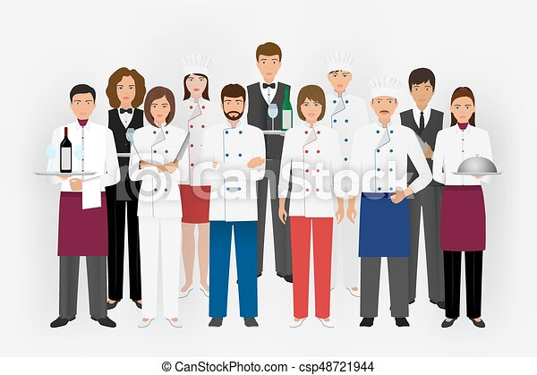 Line Art Uniform : Hotel restaurant team concept in uniform. group of catering eps
