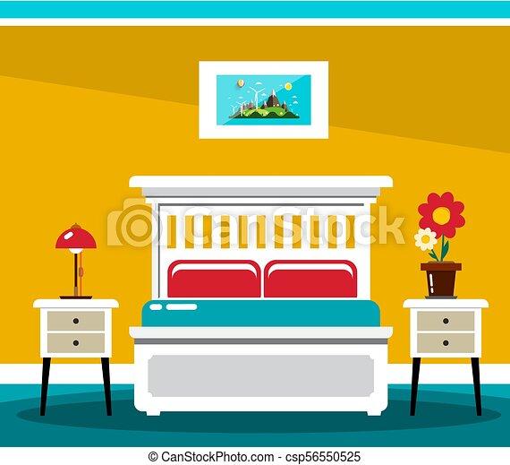 Hotel Room Bed. Vector Flat Design Interior Illustration. - csp56550525