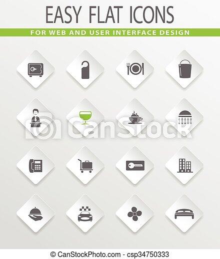 Hotel room icons set - csp34750333