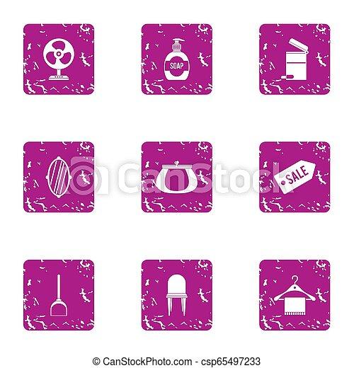 Hotel sale icons set, grunge style - csp65497233