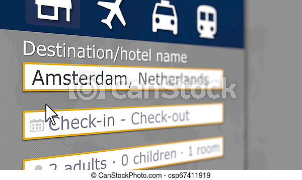 Hotel search in Amsterdam on some booking site. Travel to Netherlands related 3D rendering - csp67411919