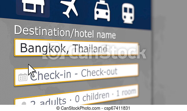 Hotel search in Bangkok on some booking site. Travel to Thailand related 3D rendering - csp67411831
