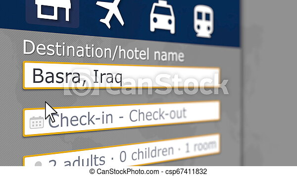 Hotel search in Basra on some booking site. Travel to Iraq related 3D rendering - csp67411832