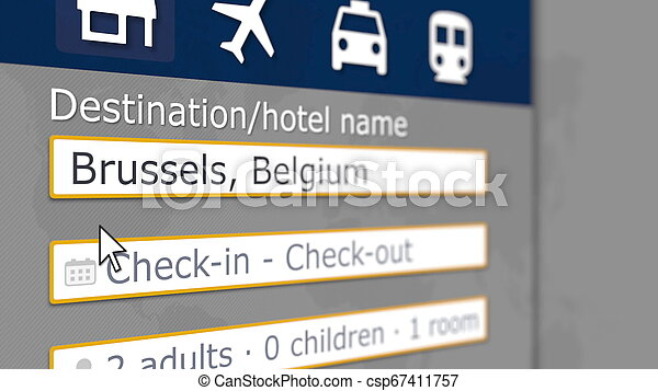 Hotel search in Brussels on some booking site. Travel to Belgium related 3D rendering - csp67411757