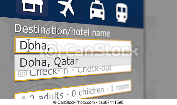 Hotel search in Doha on some booking site. Travel to Qatar related 3D rendering - csp67411598