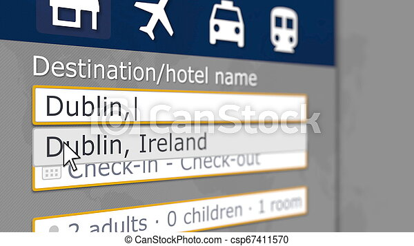 Hotel search in Dublin on some booking site. Travel to Ireland related 3D rendering - csp67411570