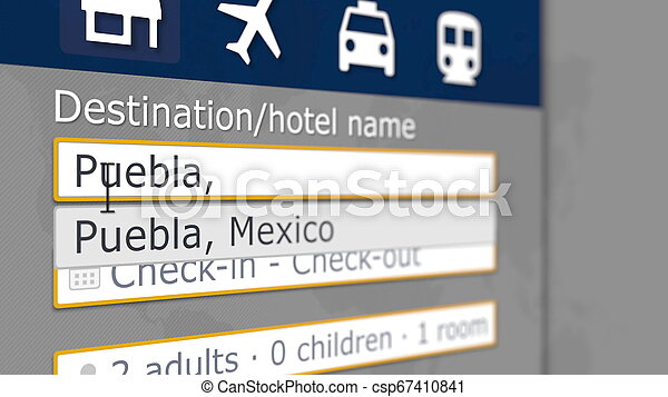 Hotel search in Puebla on some booking site. Travel to Mexico related 3D rendering - csp67410841