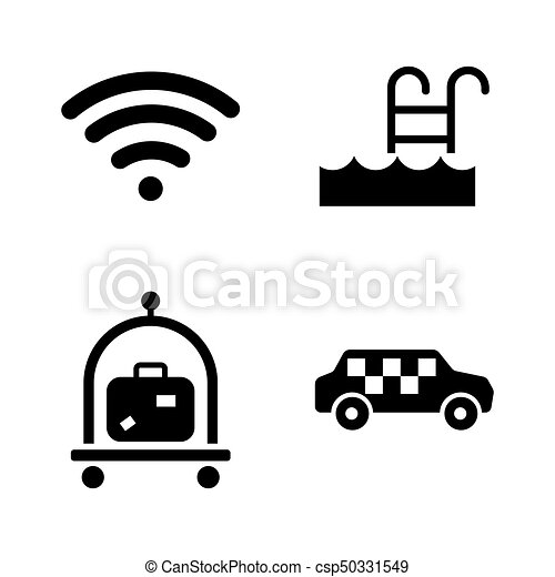 Hotel service. Simple Related Vector Icons - csp50331549