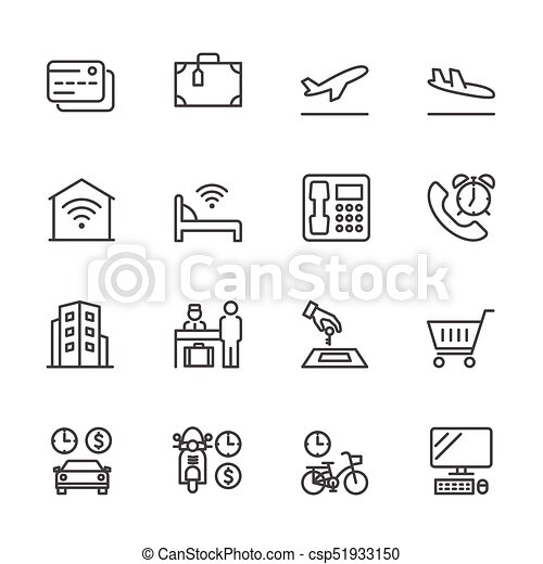 Hotel service, Simple thin line hotel icons set, Vector icon design - csp51933150