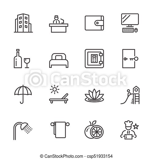 Hotel service, Simple thin line hotel icons set, Vector icon design - csp51933154