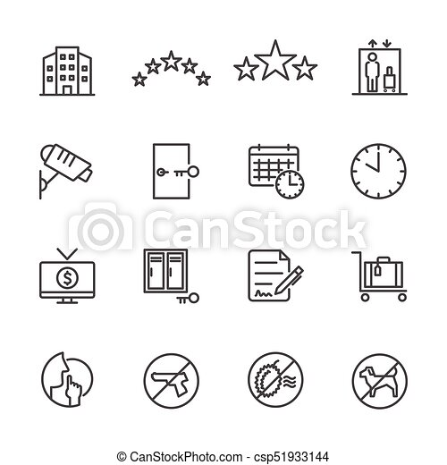 Hotel service, Simple thin line hotel icons set, Vector icon design - csp51933144