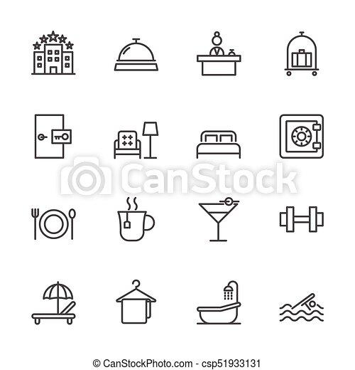 Hotel service, Simple thin line hotel icons set, Vector icon design - csp51933131