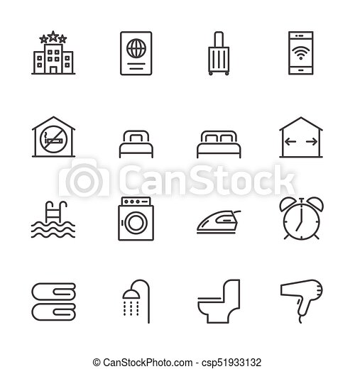 Hotel service, Simple thin line hotel icons set, Vector icon design - csp51933132