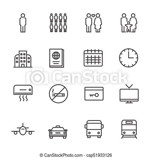 Hotel service, Simple thin line hotel icons set, Vector icon design - csp51933126