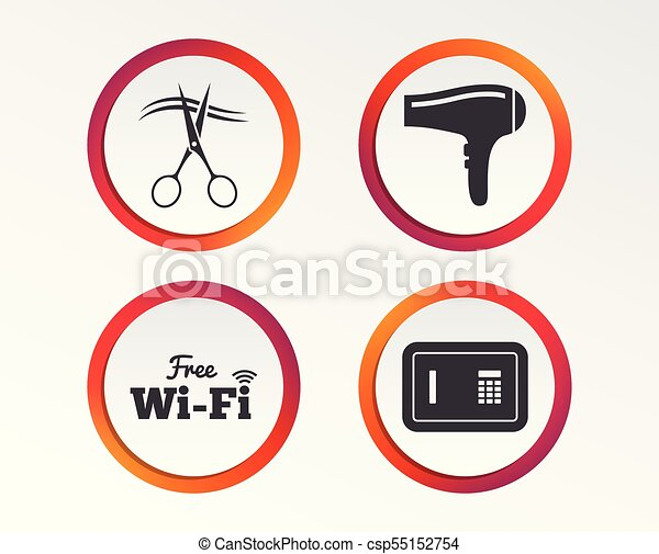 Hotel Services Icon Wi Fi Hairdryer And Safe Hotel Services Icons