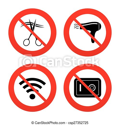Hotel Services Icon Wi Fi Hairdryer And Safe No Ban Or Stop