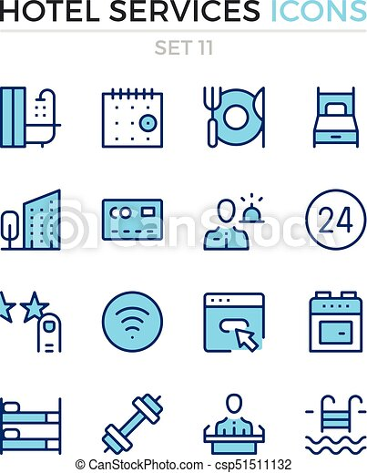 Hotel services icons. Vector line icons set. Premium quality. Simple thin line design. Modern outline symbols, pictograms - csp51511132