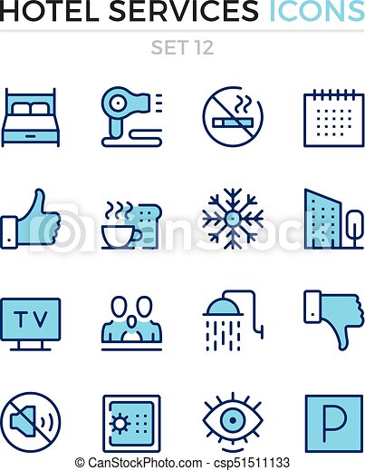 Hotel services icons. Vector line icons set. Premium quality. Simple thin line design. Modern outline symbols, pictograms - csp51511133
