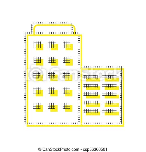Hotel sign illustration. Vector. Yellow icon with square pattern - csp56360501