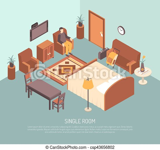 Hotel Single Room Isometric Illustration Poster - csp43656802