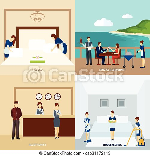 Hotel Staff Flat Design Concept Set With Vector