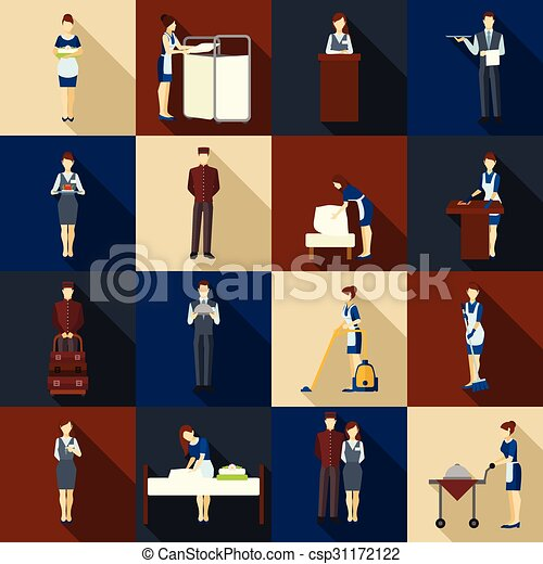 Hotel Staff Set Icons With Waiter Vector