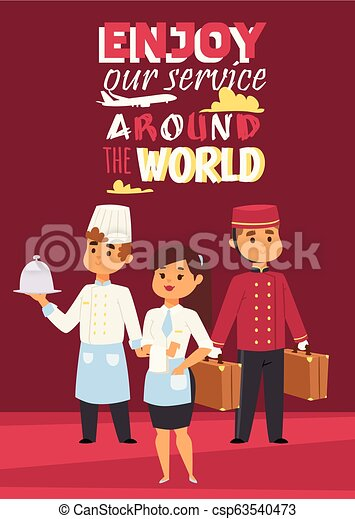 Hotel work concept represented poster with text Enjoy our service around the world. Vector illustration with happy staff, chef with dish, waitress and porter with baggage. - csp63540473