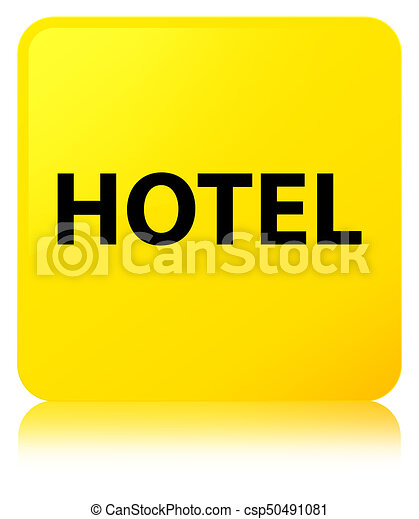 Hotel yellow square button - csp50491081