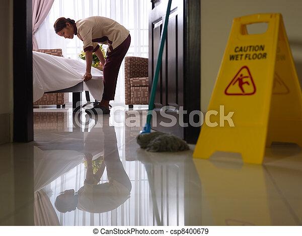 hotelkamer, werken, maid, poetsen, luxe - csp8400679