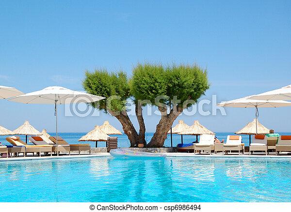 hotell, lyxvara, grekland, kreta, slå samman, simning - csp6986494