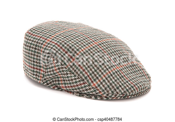 Houndstooth tweed hunting flat cap. Cutout of a houndstooh tweed ... 732b5f73843