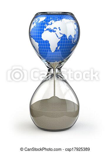 hourglass., image, conceptuel, la terre, world., destruction - csp17925389