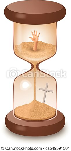 Hourglass sand glass leaking killing time vector illustration - csp49591501