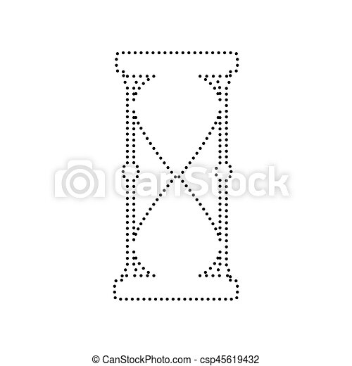 Hourglass sign illustration. Vector. Black dotted icon on white background. Isolated. - csp45619432