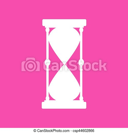 Hourglass sign illustration. White icon at magenta background. - csp44602866