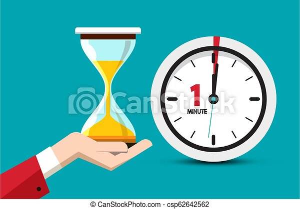Hourglass Time Symbol on Blue Background. Sand Clock One Minute Vector Flat Design Icon. - csp62642562