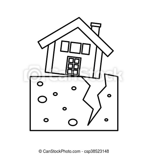 House After An Earthquake Icon Outline Style House After
