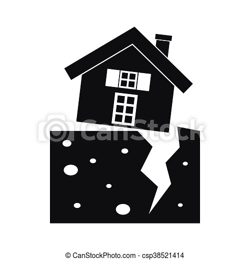 House After An Earthquake Icon Simple Style House After An