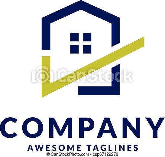 house and check mark logo - csp67129270