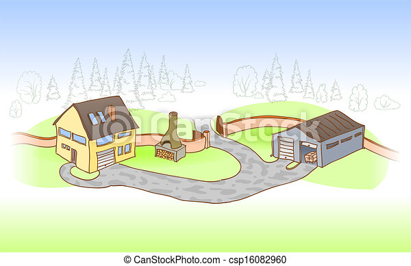 House and Garage - csp16082960