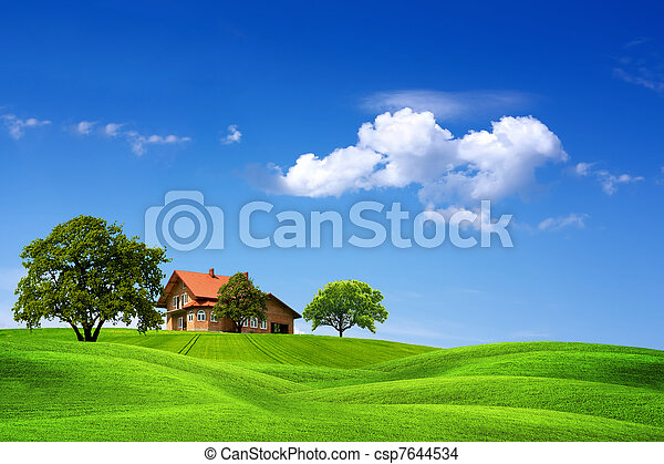 House and green landscape - csp7644534